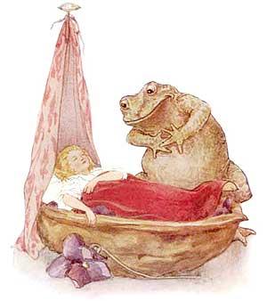 Ilustraţie cu Degeţica şi broasca