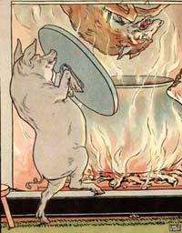 Lupul cade în cazanul de pe foc