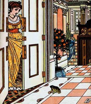 Ilustraţie cu prinţesa şi broscoiul la uşă