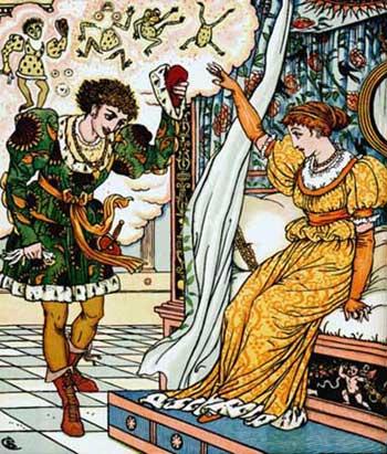 Ilustraţie cu broscoiul transformat în prinţ