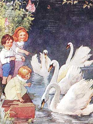Ilustratie cu lebedele pe lac